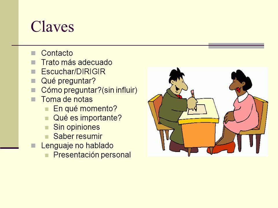 Claves Contacto Trato más adecuado Escuchar/DIRIGIR Qué preguntar.