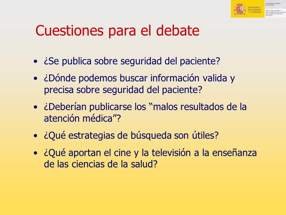 Cuestiones para el debate ¿Se publica sobre seguridad del paciente? ¿Dónde podemos buscar información valida y precisa sobre seguridad del paciente? ¿