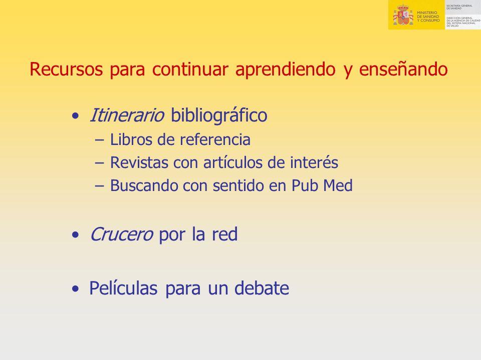 Recursos para continuar aprendiendo y enseñando Itinerario bibliográfico –Libros de referencia –Revistas con artículos de interés –Buscando con sentid