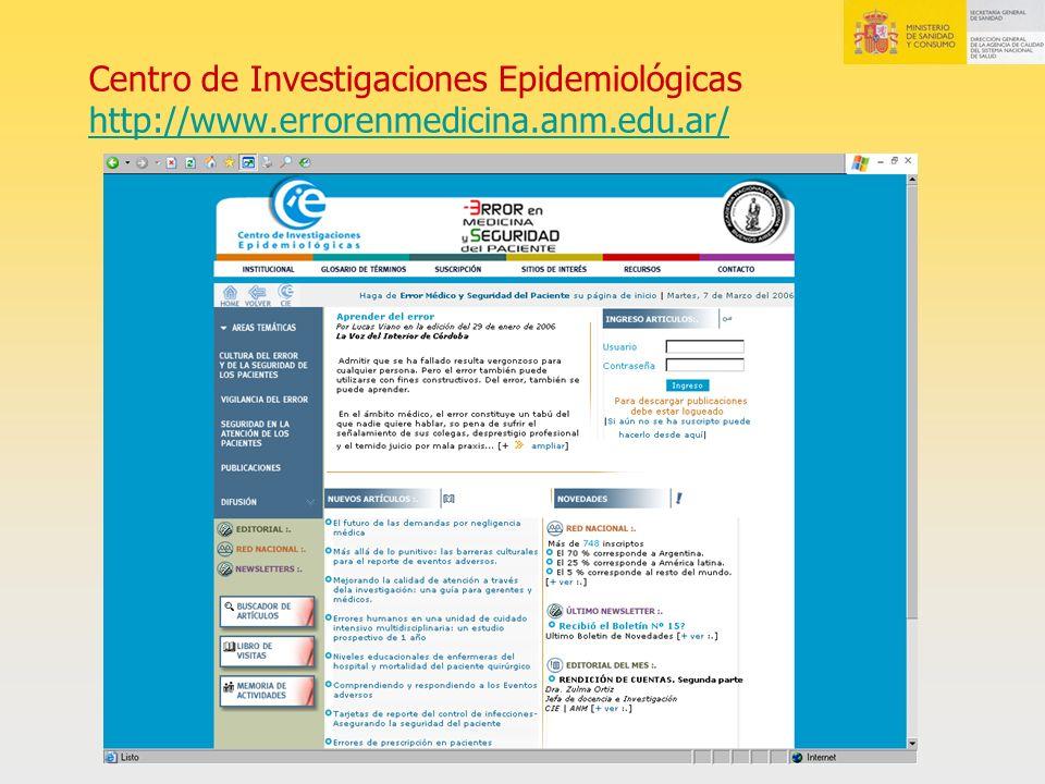 Centro de Investigaciones Epidemiológicas http://www.errorenmedicina.anm.edu.ar/ http://www.errorenmedicina.anm.edu.ar/