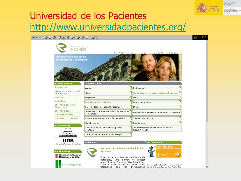 Universidad de los Pacientes http://www.universidadpacientes.org/ http://www.universidadpacientes.org/
