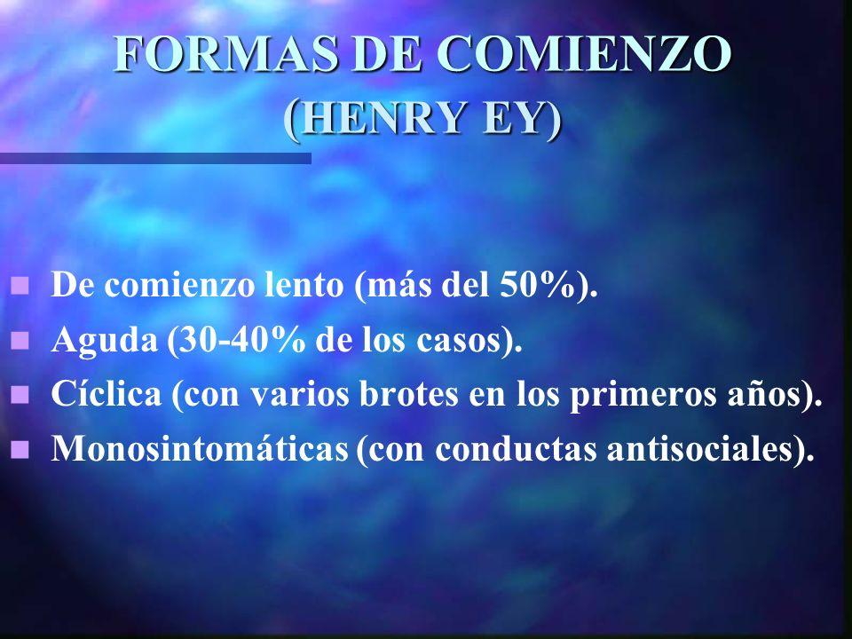 FORMAS DE COMIENZO ( HENRY EY) De comienzo lento (más del 50%).