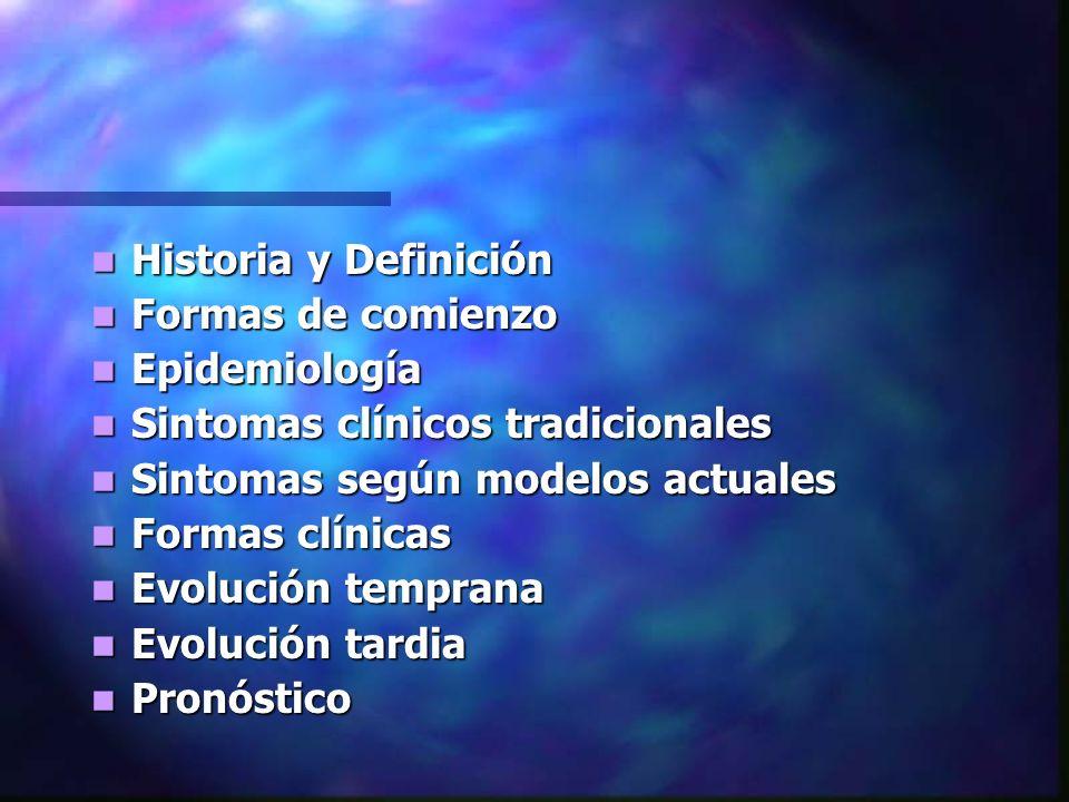 Historia y Definición Historia y Definición Formas de comienzo Formas de comienzo Epidemiología Epidemiología Sintomas clínicos tradicionales Sintomas clínicos tradicionales Sintomas según modelos actuales Sintomas según modelos actuales Formas clínicas Formas clínicas Evolución temprana Evolución temprana Evolución tardia Evolución tardia Pronóstico Pronóstico