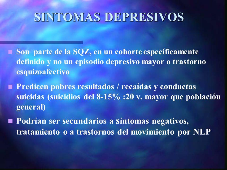SINTOMAS DEPRESIVOS Son parte de la SQZ, en un cohorte específicamente definido y no un episodio depresivo mayor o trastorno esquizoafectivo Predicen pobres resultados / recaídas y conductas suicidas (suicidios del 8-15% :20 v.