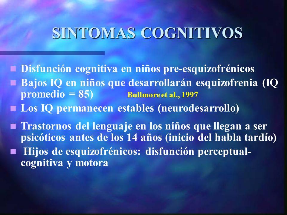 SINTOMAS COGNITIVOS Disfunción cognitiva en niños pre-esquizofrénicos Bajos IQ en niños que desarrollarán esquizofrenia (IQ promedio = 85) Bullmore et al., 1997 Los IQ permanecen estables (neurodesarrollo) Trastornos del lenguaje en los niños que llegan a ser psicóticos antes de los 14 años (inicio del habla tardío) Hijos de esquizofrénicos: disfunción perceptual- cognitiva y motora