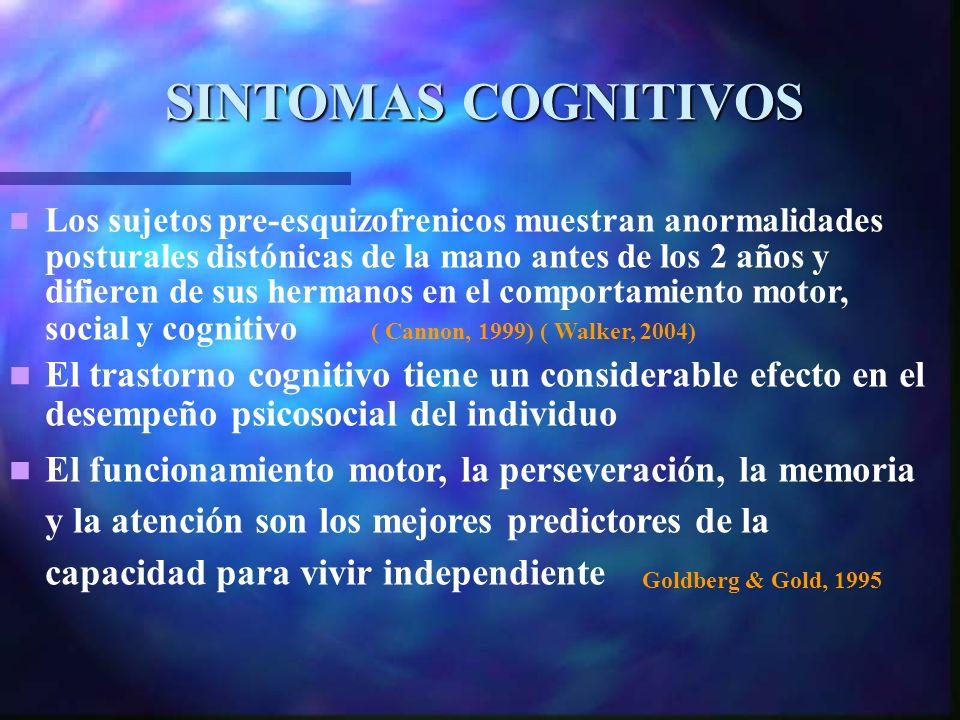 SINTOMAS COGNITIVOS Goldberg & Gold, 1995 Los sujetos pre-esquizofrenicos muestran anormalidades posturales distónicas de la mano antes de los 2 años y difieren de sus hermanos en el comportamiento motor, social y cognitivo ( Cannon, 1999) ( Walker, 2004) El trastorno cognitivo tiene un considerable efecto en el desempeño psicosocial del individuo El funcionamiento motor, la perseveración, la memoria y la atención son los mejores predictores de la capacidad para vivir independiente