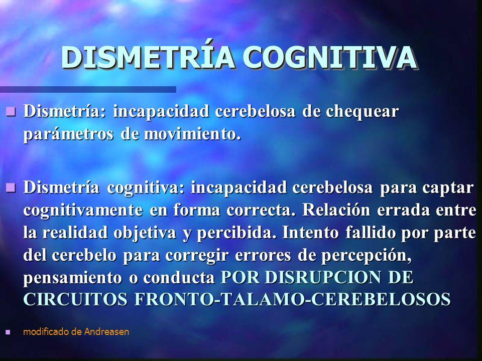 DISMETRÍA COGNITIVA DISMETRÍA COGNITIVA Dismetría: incapacidad cerebelosa de chequear parámetros de movimiento.
