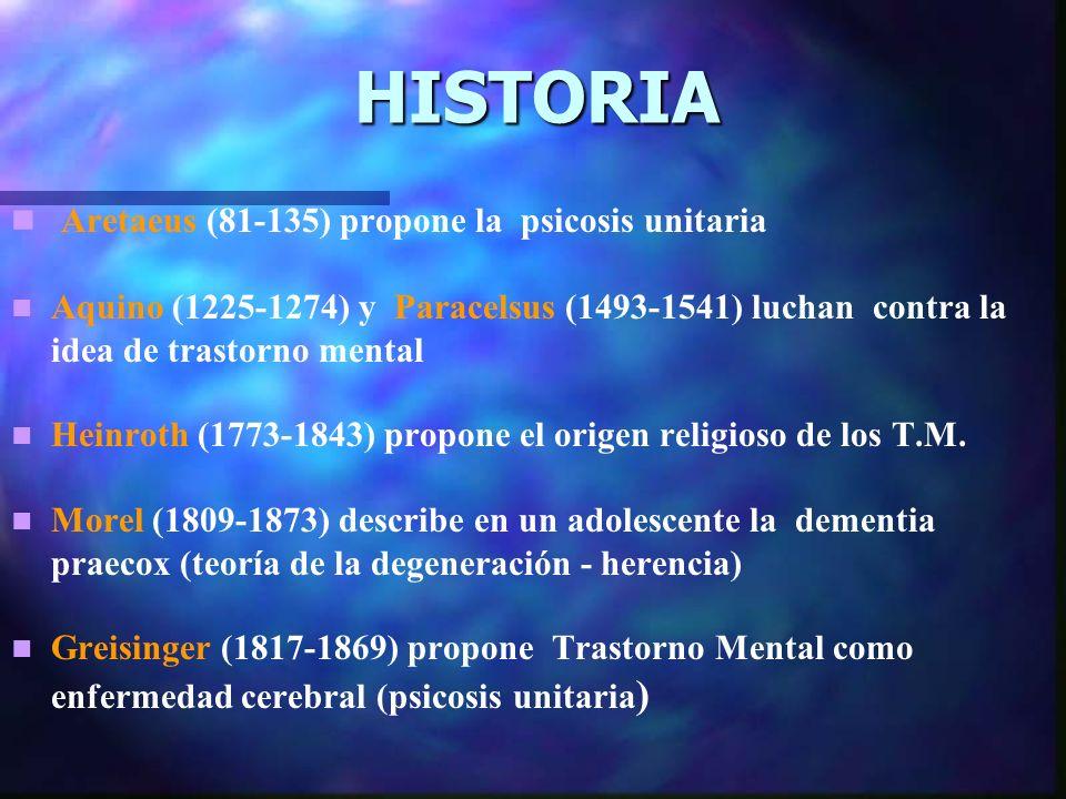 HISTORIA Aretaeus (81-135) propone la psicosis unitaria Aquino (1225-1274) y Paracelsus (1493-1541) luchan contra la idea de trastorno mental Heinroth (1773-1843) propone el origen religioso de los T.M.