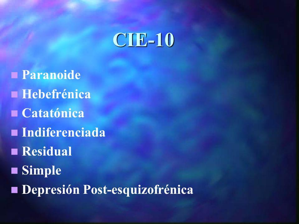 CIE-10 Paranoide Hebefrénica Catatónica Indiferenciada Residual Simple Depresión Post-esquizofrénica
