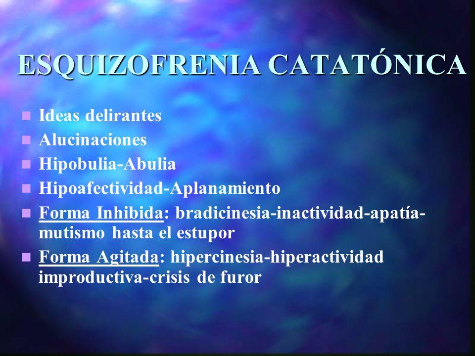 ESQUIZOFRENIA CATATÓNICA Ideas delirantes Alucinaciones Hipobulia-Abulia Hipoafectividad-Aplanamiento Forma Inhibida: bradicinesia-inactividad-apatía- mutismo hasta el estupor Forma Agitada: hipercinesia-hiperactividad improductiva-crisis de furor