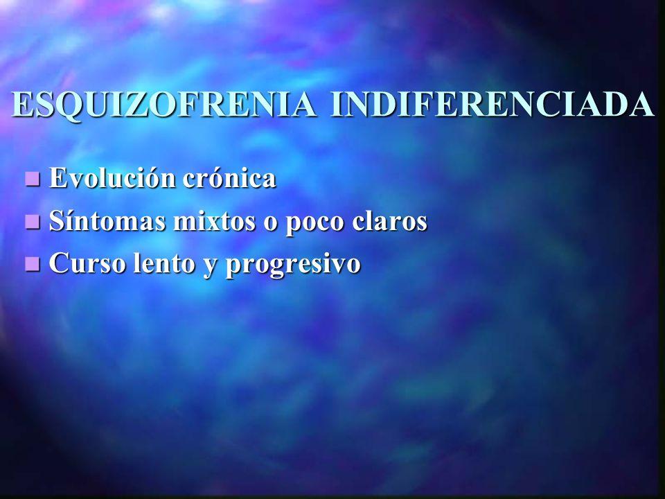 ESQUIZOFRENIA INDIFERENCIADA Evolución crónica Evolución crónica Síntomas mixtos o poco claros Síntomas mixtos o poco claros Curso lento y progresivo Curso lento y progresivo