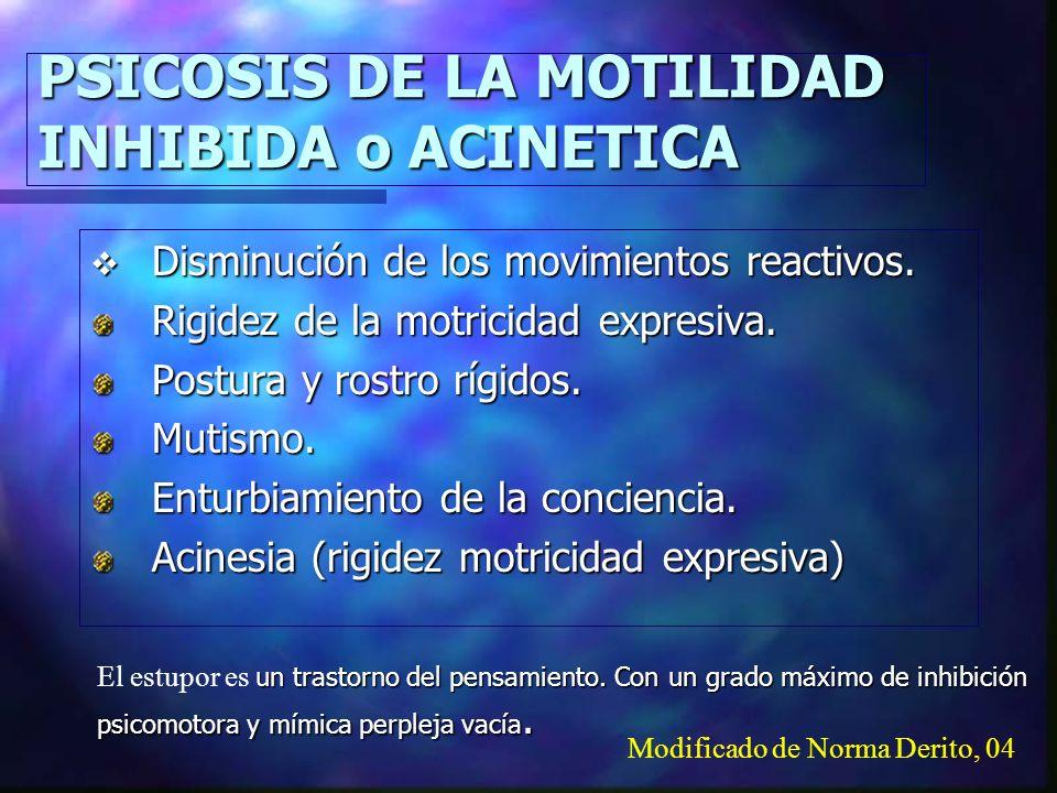 PSICOSIS DE LA MOTILIDAD INHIBIDA o ACINETICA Disminución de los movimientos reactivos.