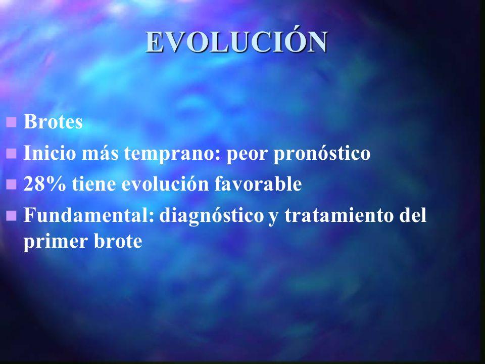 EVOLUCIÓN Brotes Inicio más temprano: peor pronóstico 28% tiene evolución favorable Fundamental: diagnóstico y tratamiento del primer brote