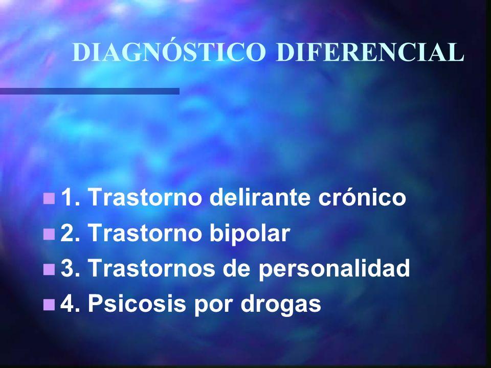 1.Trastorno delirante crónico 2. Trastorno bipolar 3.