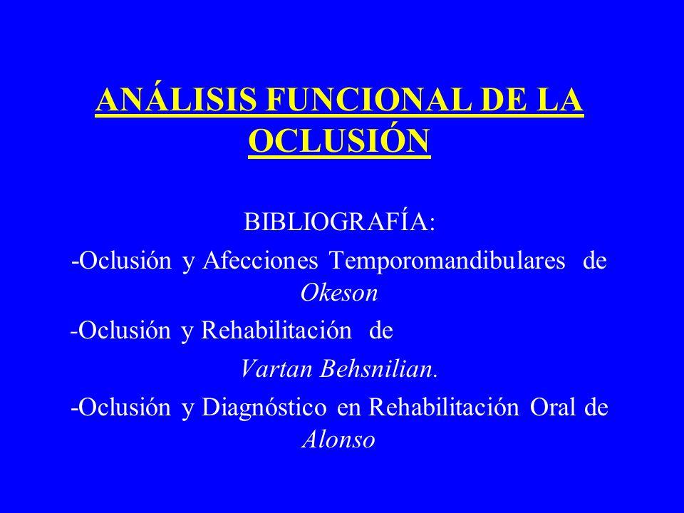 ANÁLISIS FUNCIONAL DE LA OCLUSIÓN BIBLIOGRAFÍA: -Oclusión y Afecciones Temporomandibulares de Okeson -Oclusión y Rehabilitación de Vartan Behsnilian.