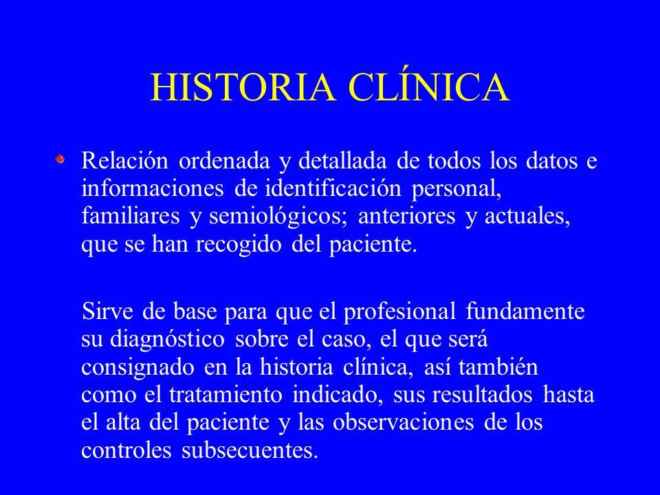 HISTORIA CLÍNICA Relación ordenada y detallada de todos los datos e informaciones de identificación personal, familiares y semiológicos; anteriores y actuales, que se han recogido del paciente.