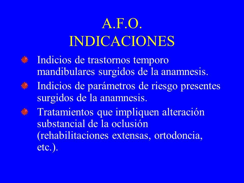 A.F.O.INDICACIONES Indicios de trastornos temporo mandibulares surgidos de la anamnesis.