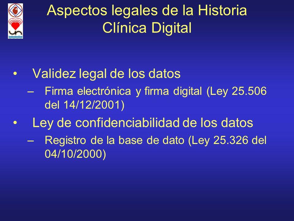 Aspectos legales de la Historia Clínica Digital Validez legal de los datos –Firma electrónica y firma digital (Ley 25.506 del 14/12/2001) Ley de confi