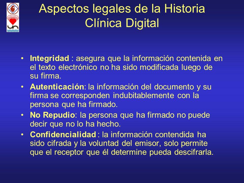 Aspectos legales de la Historia Clínica Digital Integridad : asegura que la información contenida en el texto electrónico no ha sido modificada luego
