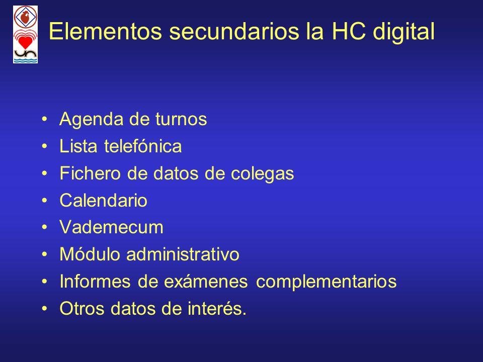 Elementos secundarios la HC digital Agenda de turnos Lista telefónica Fichero de datos de colegas Calendario Vademecum Módulo administrativo Informes