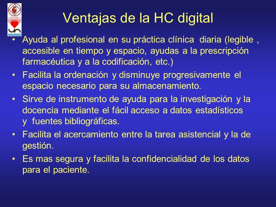 Ventajas de la HC digital Ayuda al profesional en su práctica clínica diaria (legible, accesible en tiempo y espacio, ayudas a la prescripción farmacé