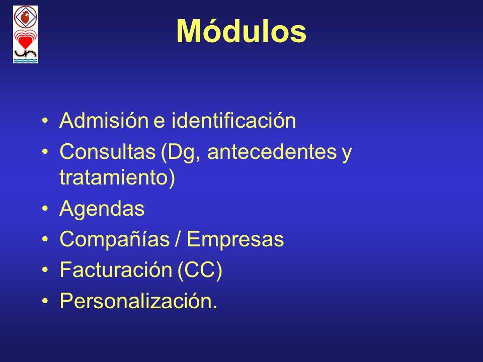 Módulos Admisión e identificación Consultas (Dg, antecedentes y tratamiento) Agendas Compañías / Empresas Facturación (CC) Personalización.