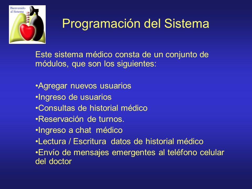 Programación del Sistema Este sistema médico consta de un conjunto de módulos, que son los siguientes: Agregar nuevos usuarios Ingreso de usuarios Con
