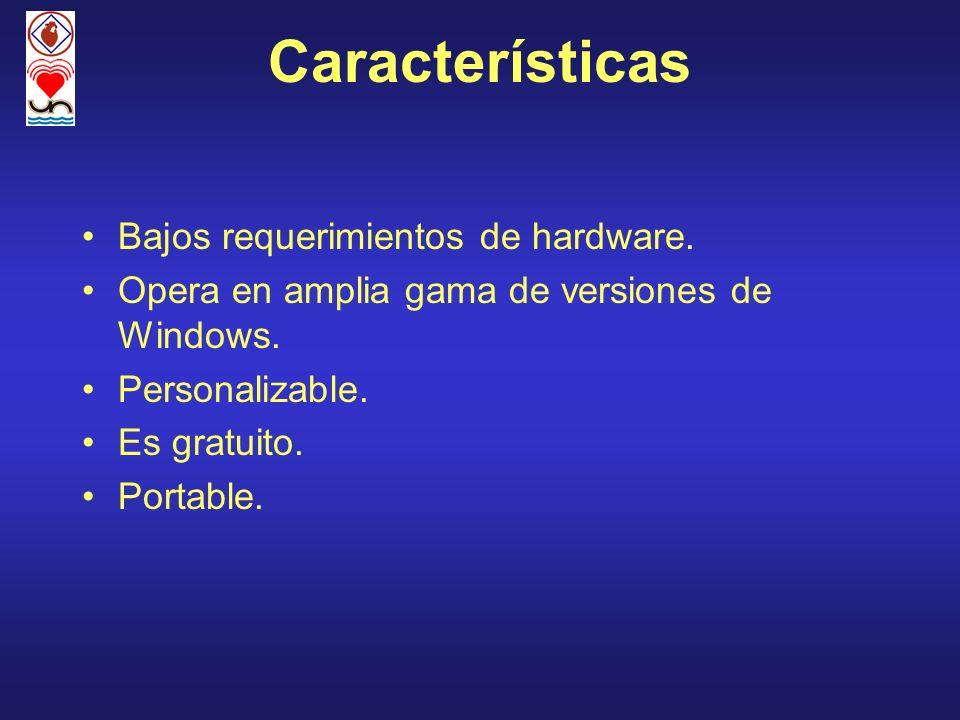 Características Bajos requerimientos de hardware. Opera en amplia gama de versiones de Windows. Personalizable. Es gratuito. Portable.
