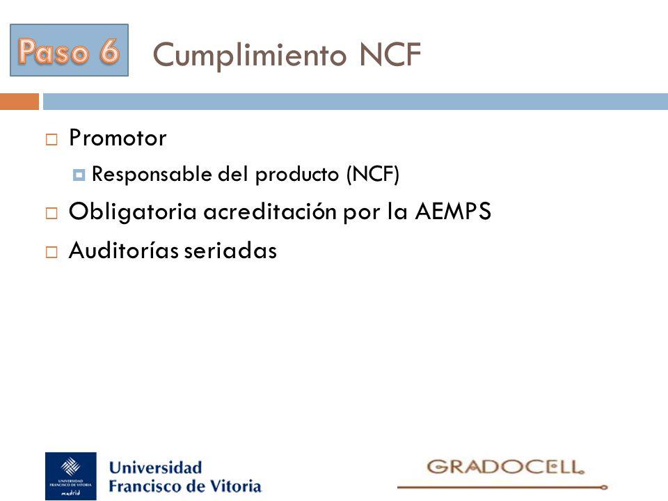 Cumplimiento NCF Promotor Responsable del producto (NCF) Obligatoria acreditación por la AEMPS Auditorías seriadas
