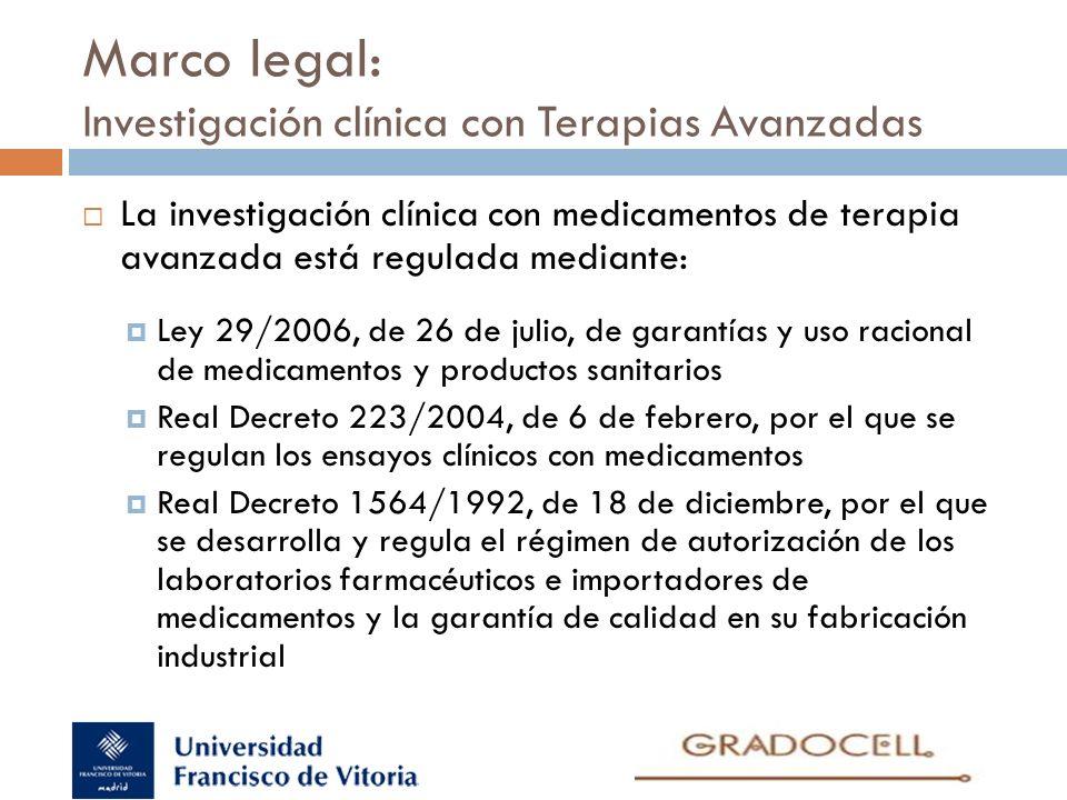 Marco legal: Investigación clínica con Terapias Avanzadas La investigación clínica con medicamentos de terapia avanzada está regulada mediante: Ley 29