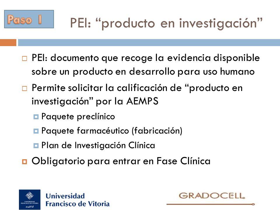 PEI: producto en investigación PEI: documento que recoge la evidencia disponible sobre un producto en desarrollo para uso humano Permite solicitar la