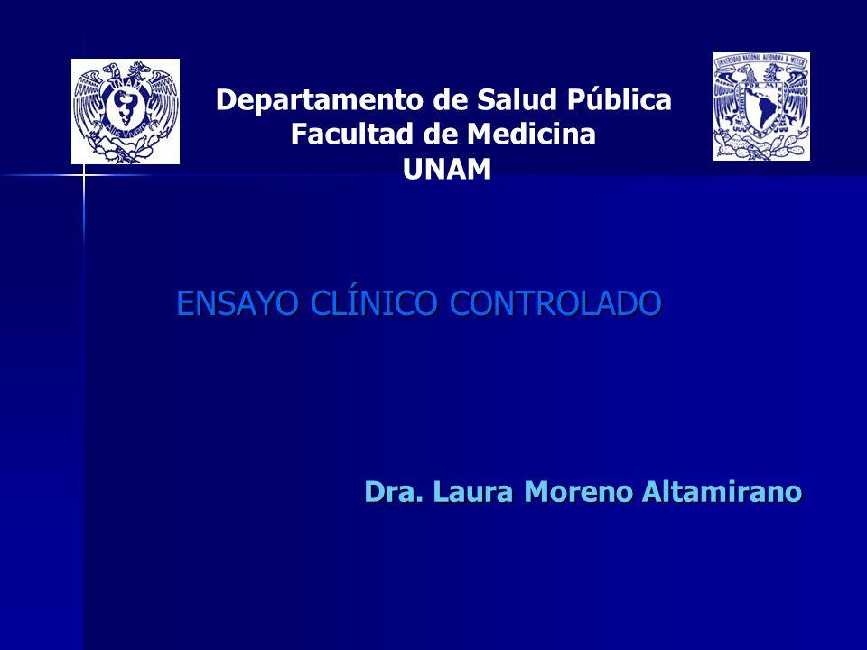 Departamento de Salud Pública Facultad de Medicina UNAM ENSAYO CLÍNICO CONTROLADO Dra. Laura Moreno Altamirano