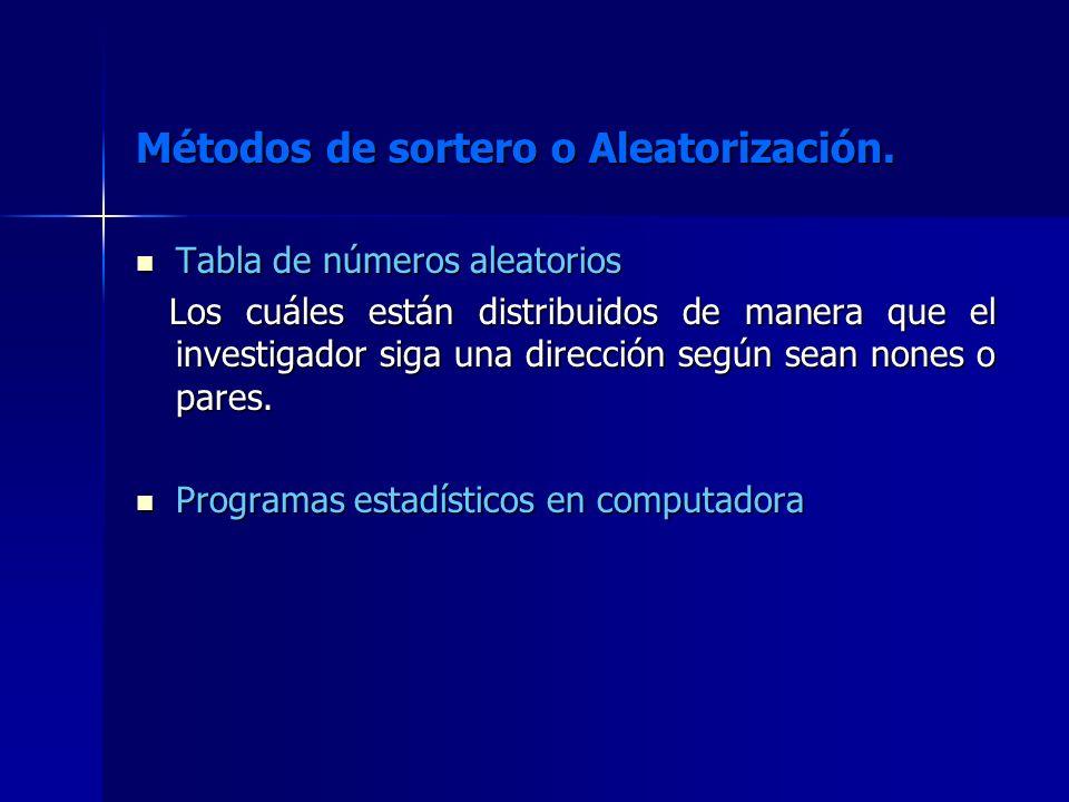 Métodos de sortero o Aleatorización. Tabla de números aleatorios Tabla de números aleatorios Los cuáles están distribuidos de manera que el investigad