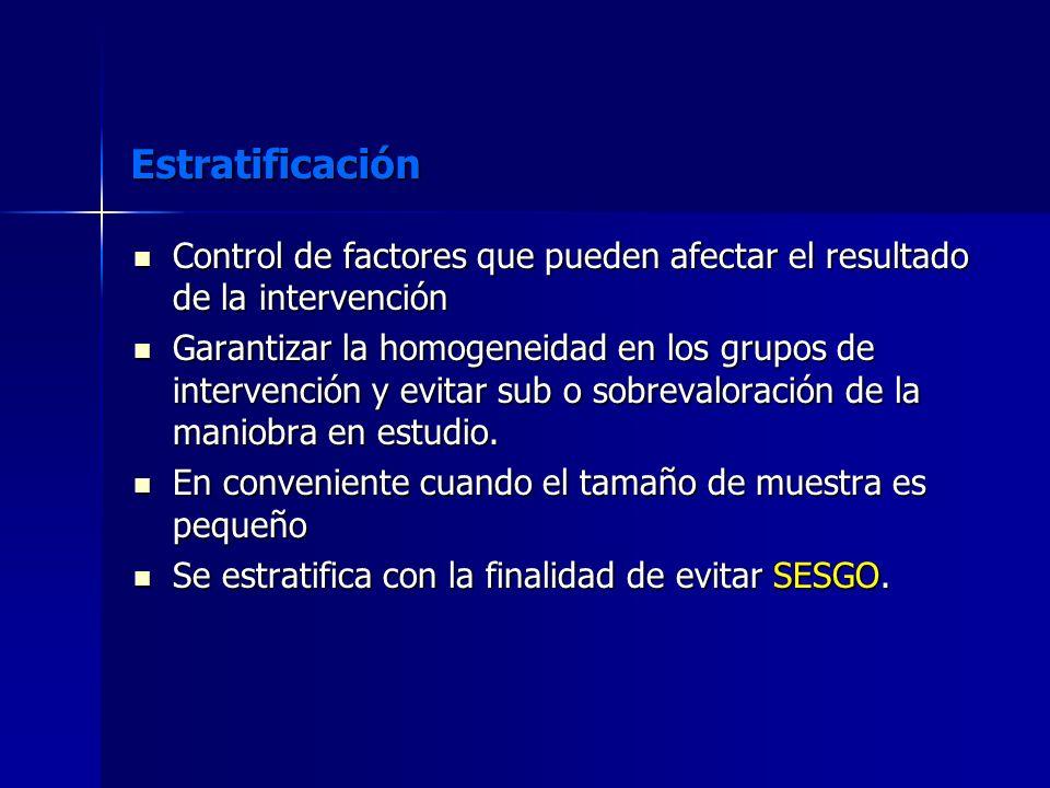 Estratificación Control de factores que pueden afectar el resultado de la intervención Control de factores que pueden afectar el resultado de la inter