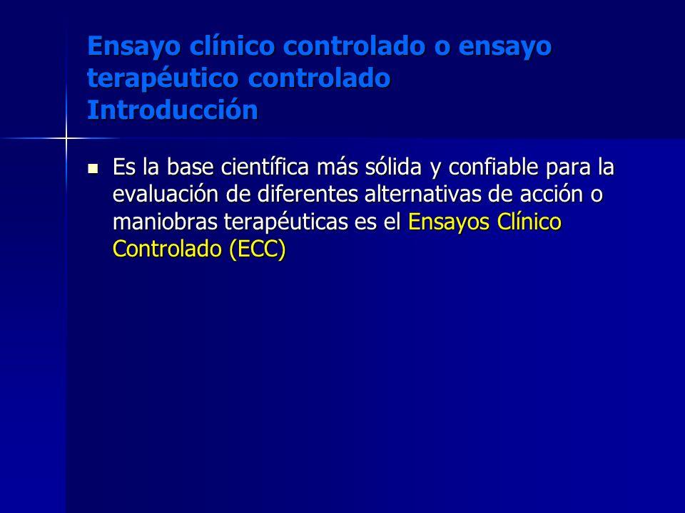 Ensayo clínico controlado o ensayo terapéutico controlado Introducción Es la base científica más sólida y confiable para la evaluación de diferentes a