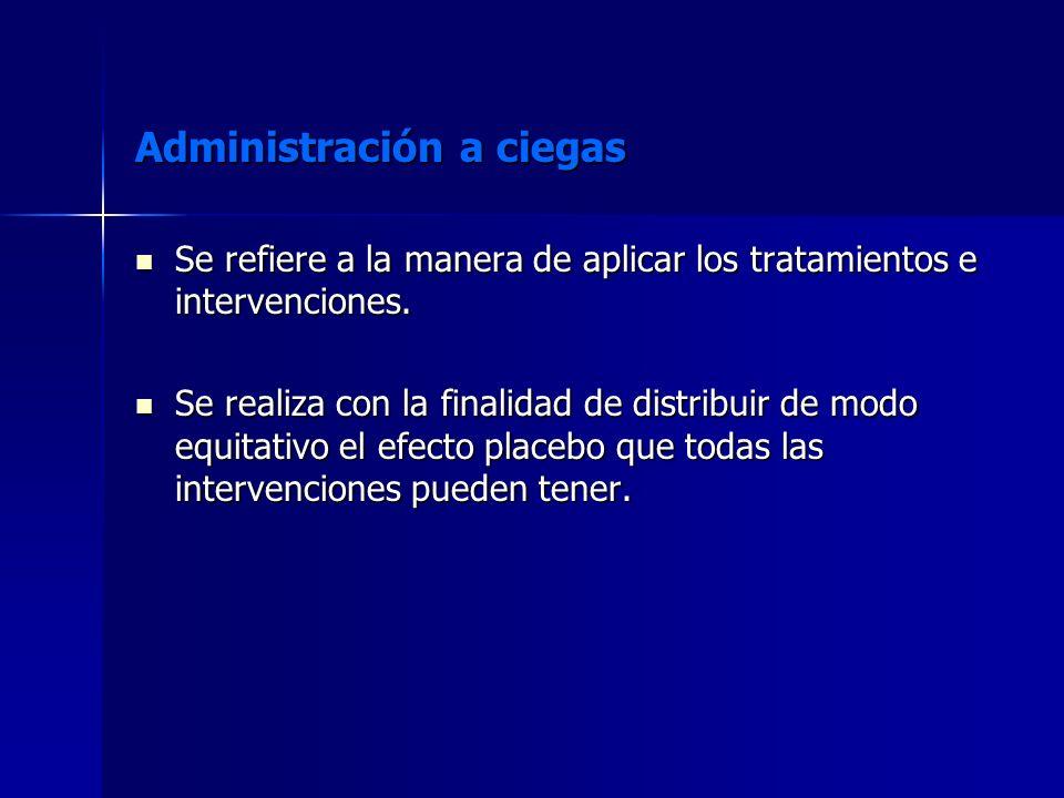 Administración a ciegas Se refiere a la manera de aplicar los tratamientos e intervenciones. Se refiere a la manera de aplicar los tratamientos e inte