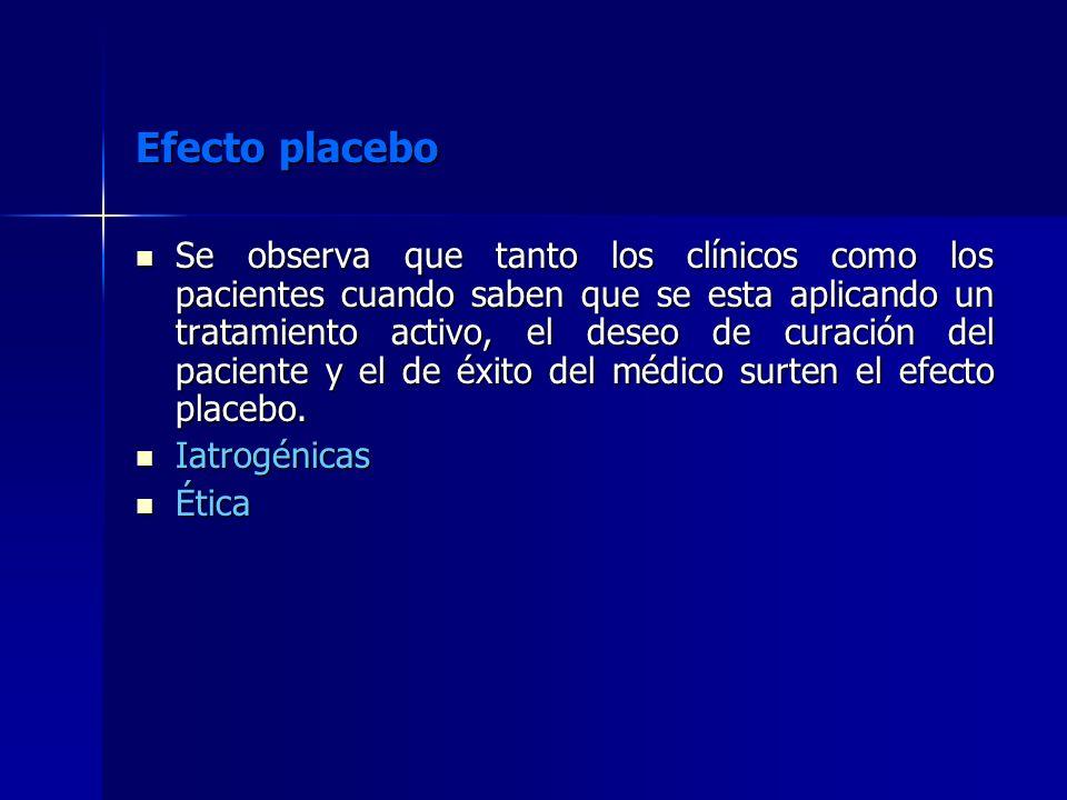 Efecto placebo Se observa que tanto los clínicos como los pacientes cuando saben que se esta aplicando un tratamiento activo, el deseo de curación del