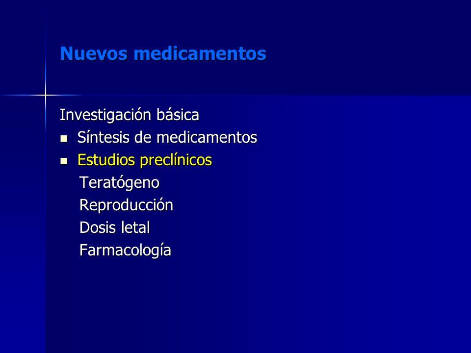 Nuevos medicamentos Investigación básica Síntesis de medicamentos Síntesis de medicamentos Estudios preclínicos Estudios preclínicos Teratógeno Terató