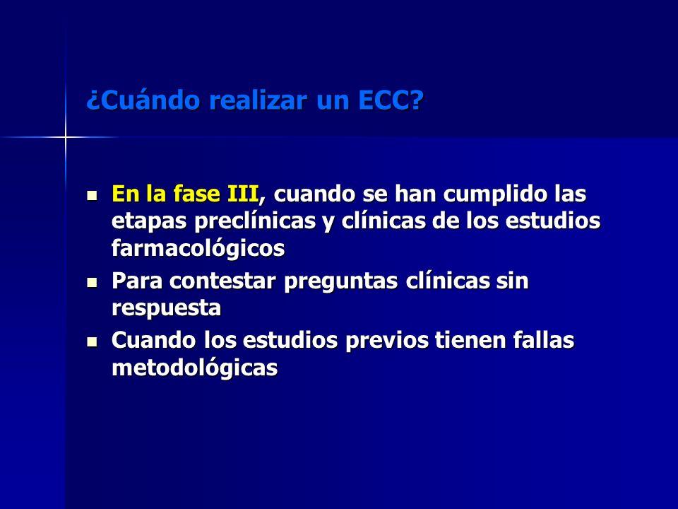 ¿Cuándo realizar un ECC? En la fase III, cuando se han cumplido las etapas preclínicas y clínicas de los estudios farmacológicos En la fase III, cuand
