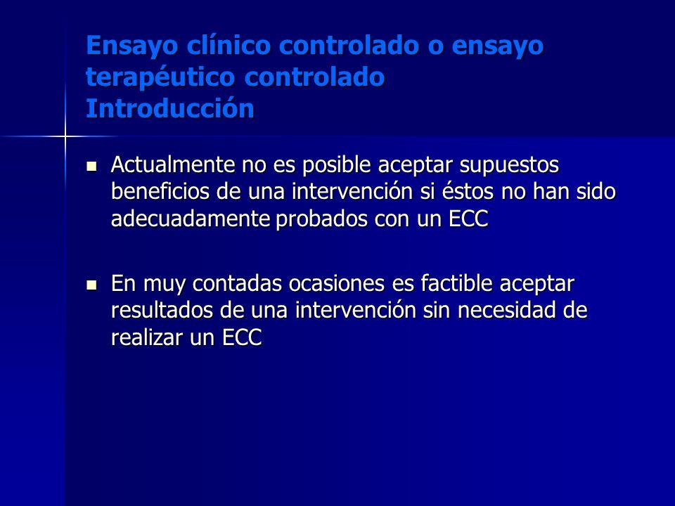 Ensayo clínico controlado o ensayo terapéutico controlado Introducción Actualmente no es posible aceptar supuestos beneficios de una intervención si é