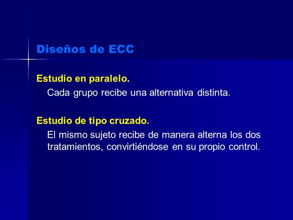 Diseños de ECC Estudio en paralelo. Cada grupo recibe una alternativa distinta. Estudio de tipo cruzado. El mismo sujeto recibe de manera alterna los