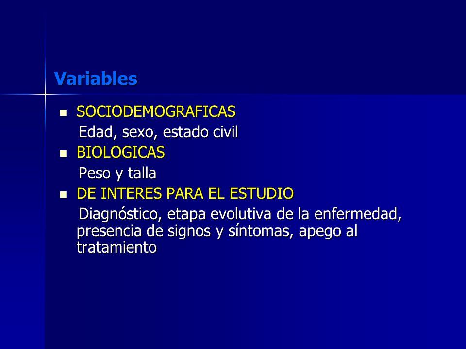 Variables SOCIODEMOGRAFICAS SOCIODEMOGRAFICAS Edad, sexo, estado civil Edad, sexo, estado civil BIOLOGICAS BIOLOGICAS Peso y talla Peso y talla DE INT