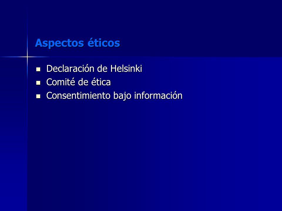Aspectos éticos Declaración de Helsinki Declaración de Helsinki Comité de ética Comité de ética Consentimiento bajo información Consentimiento bajo in