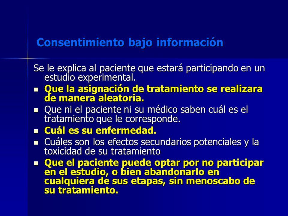 Consentimiento bajo información Se le explica al paciente que estará participando en un estudio experimental. Que la asignación de tratamiento se real
