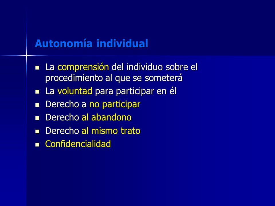 Autonomía individual La comprensión del individuo sobre el procedimiento al que se someterá La comprensión del individuo sobre el procedimiento al que