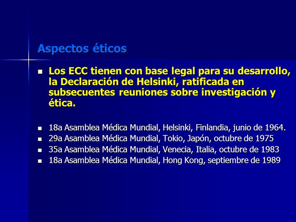 Aspectos éticos Los ECC tienen con base legal para su desarrollo, la Declaración de Helsinki, ratificada en subsecuentes reuniones sobre investigación