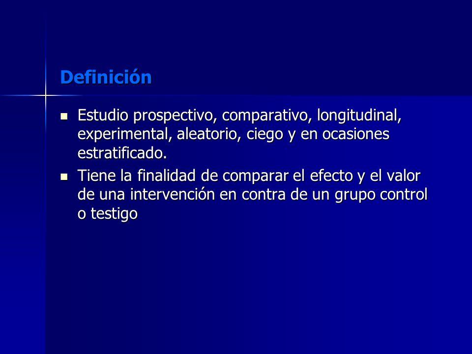 Definición Estudio prospectivo, comparativo, longitudinal, experimental, aleatorio, ciego y en ocasiones estratificado. Estudio prospectivo, comparati