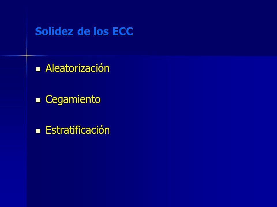 Solidez de los ECC Aleatorización Aleatorización Cegamiento Cegamiento Estratificación Estratificación