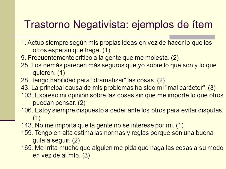 Trastorno Negativista: ejemplos de ítem 1.