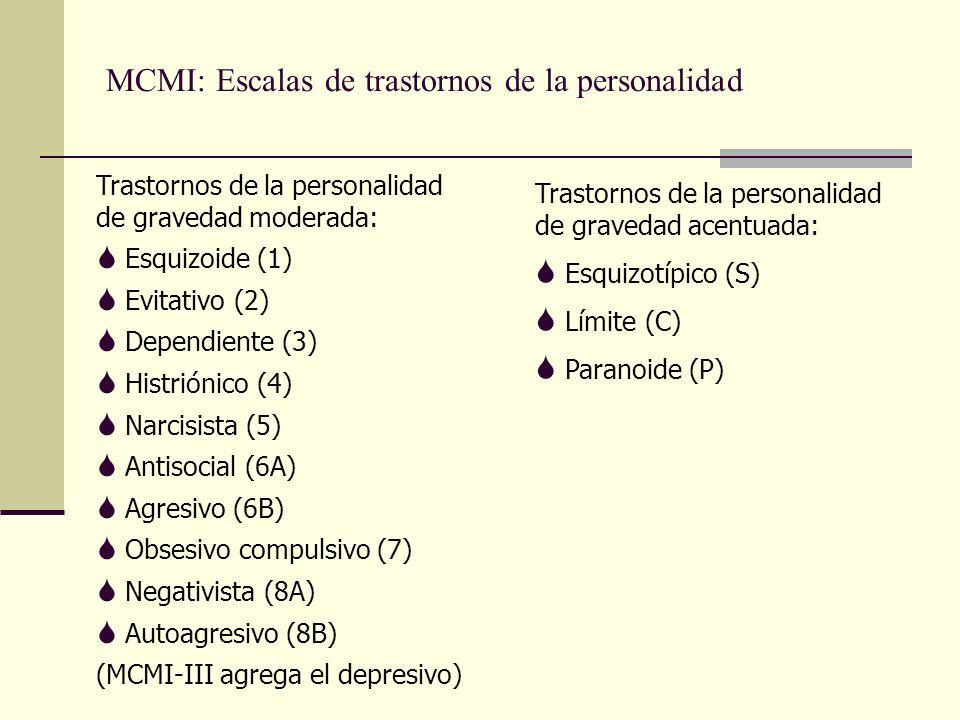 MCMI: Escalas de trastornos de la personalidad Trastornos de la personalidad de gravedad moderada: S Esquizoide (1) S Evitativo (2) S Dependiente (3) S Histriónico (4) S Narcisista (5) S Antisocial (6A) S Agresivo (6B) S Obsesivo compulsivo (7) S Negativista (8A) S Autoagresivo (8B) (MCMI-III agrega el depresivo) Trastornos de la personalidad de gravedad acentuada: S Esquizotípico (S) S Límite (C) S Paranoide (P)